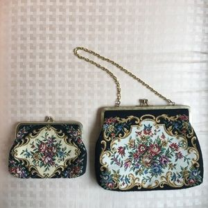 VINTAGE Matching Tapestry Bag & Coin Purse